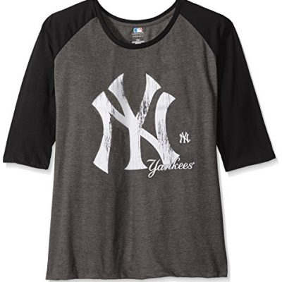 MLB-New-York-Yankees-Womens-34-Sleeved-Raglan-T-Shirt-with-Distress-Logo-2X-CharcoalBlack-0