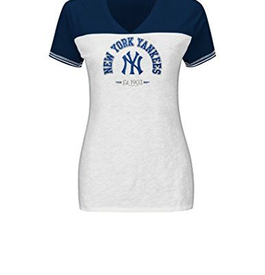 MLB-New-York-Yankees-Womens-T4D-Fashion-Tops-WhiteAthletic-NavyStone-Gray-Large-0