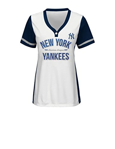 watch a7bf7 ac304 MLB New York Yankees Women's Team Name Rugged Competitor Pull Over Color  Block Jersey, Medium, White/Athletic Navy