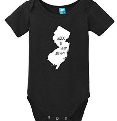Made-In-New-Jersey-Printed-Infant-Bodysuit-Baby-Romper-Black-3-6-Month-0