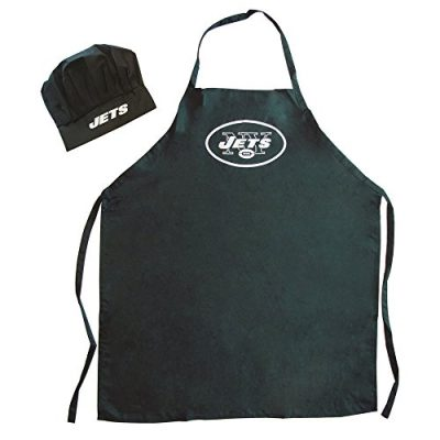 Mens-Chef-Hat-Apron-NFL-New-York-Jets-Team-Logo-BBQ-Barbeque-Cook-Grill-Home-Tailgating-Picnic-0