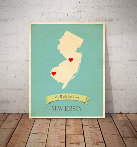 My Roots New Jersey Personalized Wall Map 11x14, Kid\'s New Jersey ...