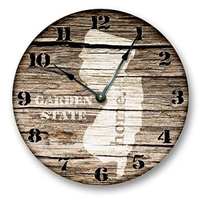 NEW-JERSEY-STATE-HOMELAND-CLOCK-GARDEN-STATE-Large-105-Wall-Clock-Printed-Wood-Image-NJFT-0