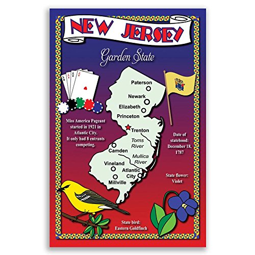 NEW JERSEY STATE MAP postcard set of 20 identical postcards Post