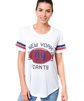 NFL-New-York-Giants-Womens-Mesh-Jersey-Short-Sleeve-T-Shirt-TopWhiteLarge-0