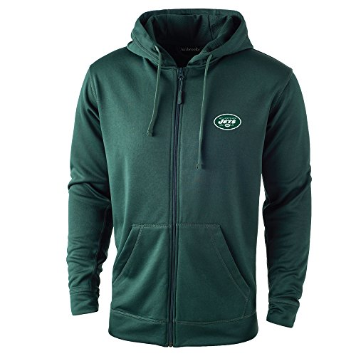 size 40 a8ada 07729 NFL New York Jets adult Trophy Polyester Tech Fleece Full Zip Hoodie,  Large, Forest