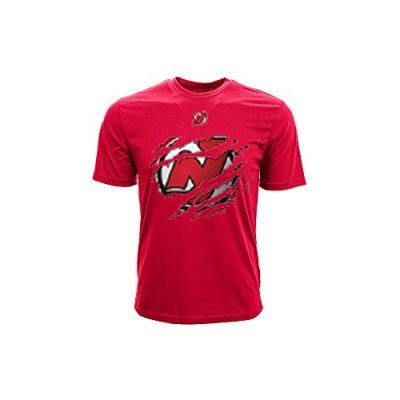 NHL-New-Jersey-Devils-Youth-Ripped-Youth-Tee-Small-Solid-Red-0