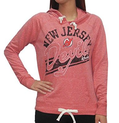 NJ-DEVILS-Team-Logo-Womens-Athletic-Pullover-Hoodie-Vintage-Look-M-Red-0