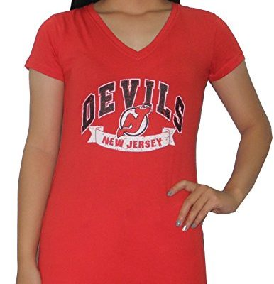 NJ-DEVILS-Womens-Athletic-V-Neck-T-Shirt-Vintage-Look-L-Red-0