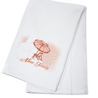 New-Jersey-Beach-Chair-and-Umbrella-Coral-Coastal-Icon-100-Cotton-Kitchen-Towel-0