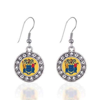 New-Jersey-Flag-Circle-Charm-Earrings-French-Hook-Clear-Crystal-Rhinestones-0