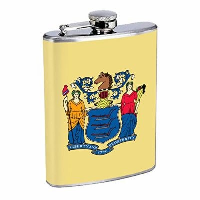 New-Jersey-Flask-State-Flag-USA-S1-Stainless-Steel-8oz-Hip-Silver-Alcohol-Whiskey-Liquor-Brandi-0