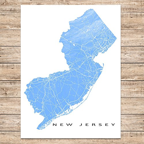 New Jersey Map Art Print Nj State Outline Usa Poster Jersey City Newark 0 2 Shop Fun New Jersey