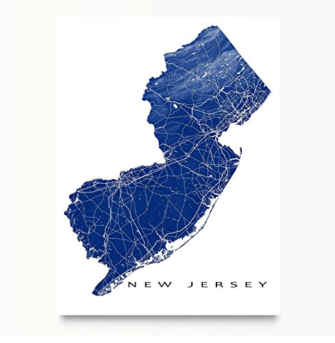 New Jersey Map Art Print Nj State Outline Usa Poster Jersey City