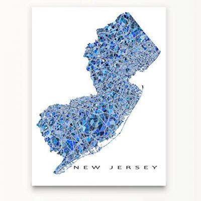 New-Jersey-Map-Print-NJ-State-Wall-Art-Decor-Blue-0