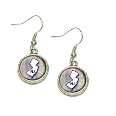 New-Jersey-NJ-State-Outline-on-Faded-Blue-Dangling-Drop-Charm-Earrings-0