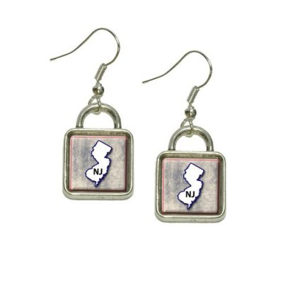 New-Jersey-NJ-State-Outline-on-Faded-Blue-Dangling-Drop-Square-Charm-Earrings-0