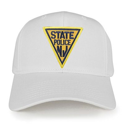 New-Jersey-NJ-State-Police-Embroidered-Iron-On-Patch-Adjustable-Baseball-Cap-WHITE-0
