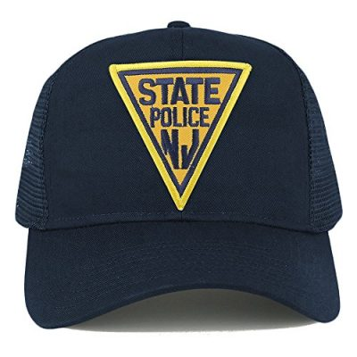 New-Jersey-NJ-State-Police-Embroidered-Iron-On-Patch-Adjustable-Mesh-Trucker-Cap-NAVY-0