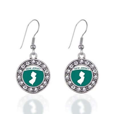 New-Jersey-Outline-Circle-Charm-Earrings-French-Hook-Clear-Crystal-Rhinestones-0