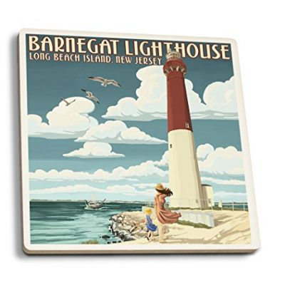 New-Jersey-Shore-Barnegat-Lighthouse-Set-of-4-Ceramic-Coasters-Cork-backed-Absorbent-0