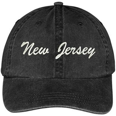 New-Jersey-State-Embroidered-Low-Profile-Adjustable-Cotton-Cap-Black-0