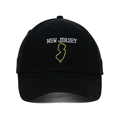 New-Jersey-State-Map-Embroidered-SOFT-Unstructured-Adjustable-Hat-Cap-Black-0