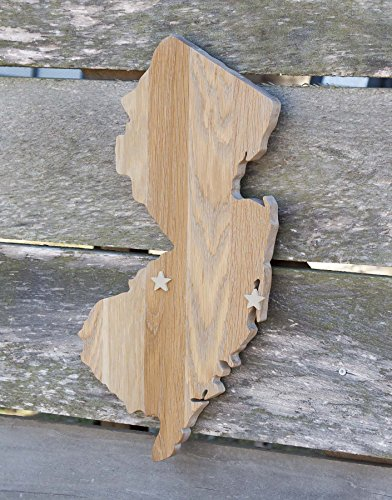 New Jersey State Shape Wood Cutout Sign Wall Art In Oak 19 Tall 6 Stain Colors Personalized With Choice Of Wooden Dimensional Heart Or Star At