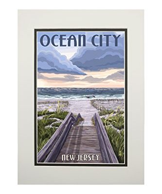 Ocean-City-New-Jersey-Beach-Boardwalk-Scene-11x14-Double-Matted-Art-Print-Wall-Decor-Ready-to-Frame-0