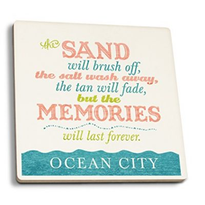 Ocean-City-New-Jersey-Beach-Memories-Last-Forever-Set-of-4-Ceramic-Coasters-Cork-backed-Absorbent-0