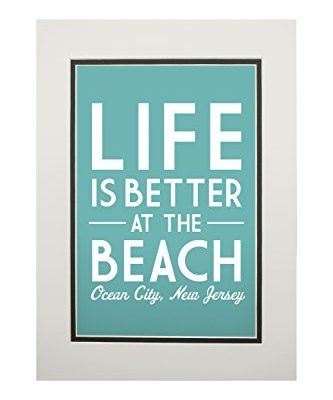 Ocean-City-New-Jersey-Life-is-Better-at-the-Beach-Simply-Said-11x14-Double-Matted-Art-Print-Wall-Decor-Ready-to-Frame-0