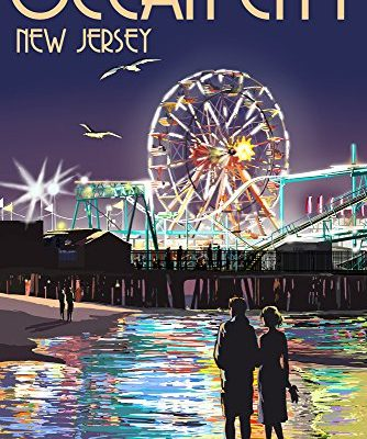 Ocean-City-New-Jersey-Pier-and-Rides-at-Night-9x12-Collectible-Art-Print-Wall-Decor-Travel-Poster-0