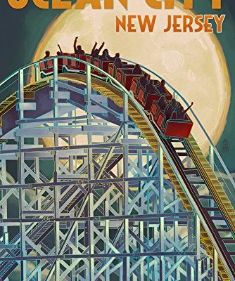 Ocean-City-New-Jersey-Roller-Coaster-and-Moon-9x12-Collectible-Art-Print-Wall-Decor-Travel-Poster-0