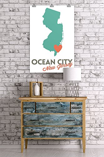 Ocean City New Jersey State Outline And Heart 24x36