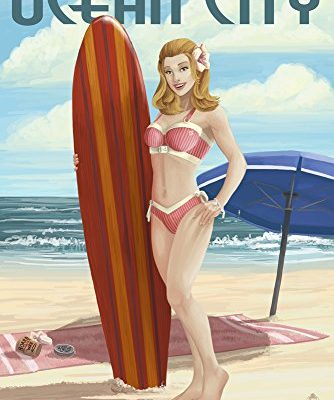 Ocean-City-New-Jersey-Surfing-Pinup-Girl-9x12-Collectible-Art-Print-Wall-Decor-Travel-Poster-0