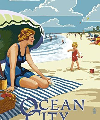 Ocean-City-New-Jersey-Woman-on-the-Beach-9x12-Collectible-Art-Print-Wall-Decor-Travel-Poster-0