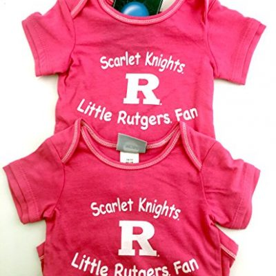 Pack-of-2-OuterStuff-Officially-Licensed-Infant-3-to-6-Month-Rutgers-Scarlet-Knights-Baby-Girls-Pink-Onesie-Romper-Creepers-0