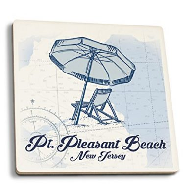 Pt-Pleasant-Beach-New-Jersey-Beach-Chair-and-Umbrella-Blue-Coastal-Icon-Set-of-4-Ceramic-Coasters-Cork-backed-Absorbent-0