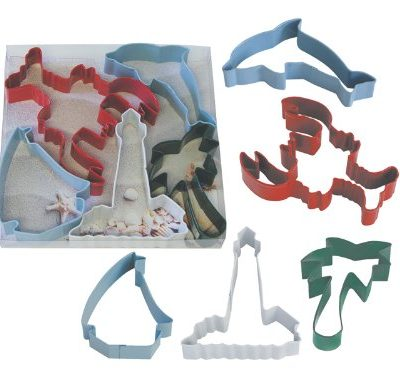 R-M-International-1960-5-Piece-Beach-Resin-Coated-Cookie-Cutter-Set-LobsterLighthouseDolphinSailboatPalm-Tree-0