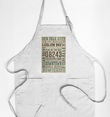 Sea-Isle-City-New-Jersey-Typography-CottonPolyester-Chefs-Apron-0