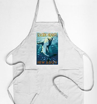 Seaside-Heights-New-Jersey-Stylized-Shark-CottonPolyester-Chefs-Apron-0