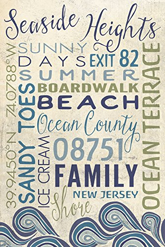 Seaside Heights, New Jersey - Typography (9x12 Collectible Art Print ...