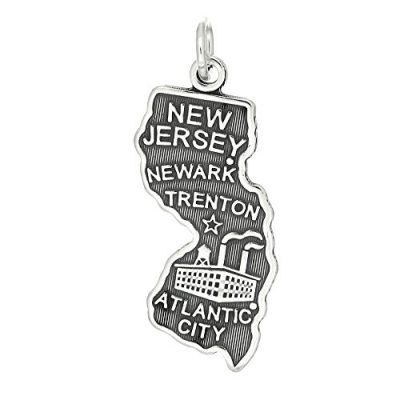 Sterling-Silver-Oxidized-Travel-State-Map-of-New-Jersey-Charm-Pendant-0