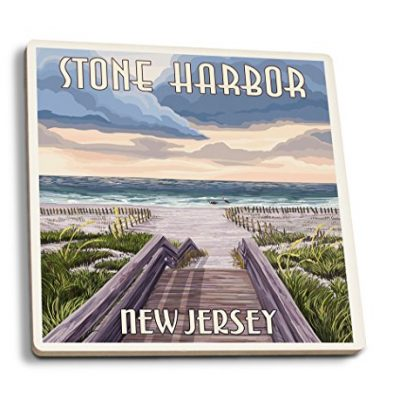 Stone-Harbor-New-Jersey-Beach-Boardwalk-Scene-Set-of-4-Ceramic-Coasters-Cork-backed-Absorbent-0