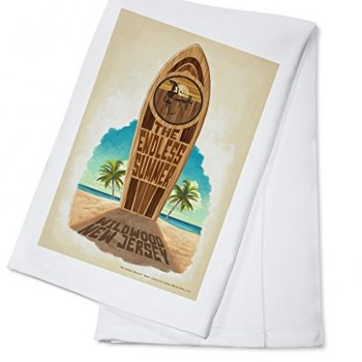 The-Endless-Summer-Surfboard-in-Sand-Wildwood-NJ-100-Cotton-Absorbent-Kitchen-Towel-0