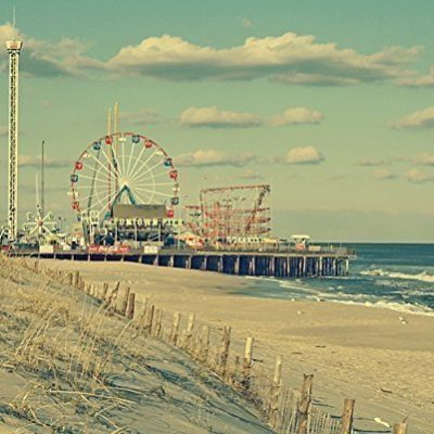 Vintage-style-photograph-of-the-famous-Funtown-Pier-in-Seaside-Park-NJ-Coastal-Wall-Art-Seashore-Print-Funtown-Pier-Beach-Art-Print-0