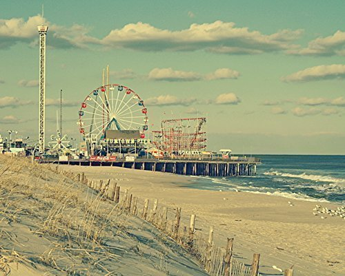 Vintage style photograph of the famous Funtown Pier in Seaside Park ...